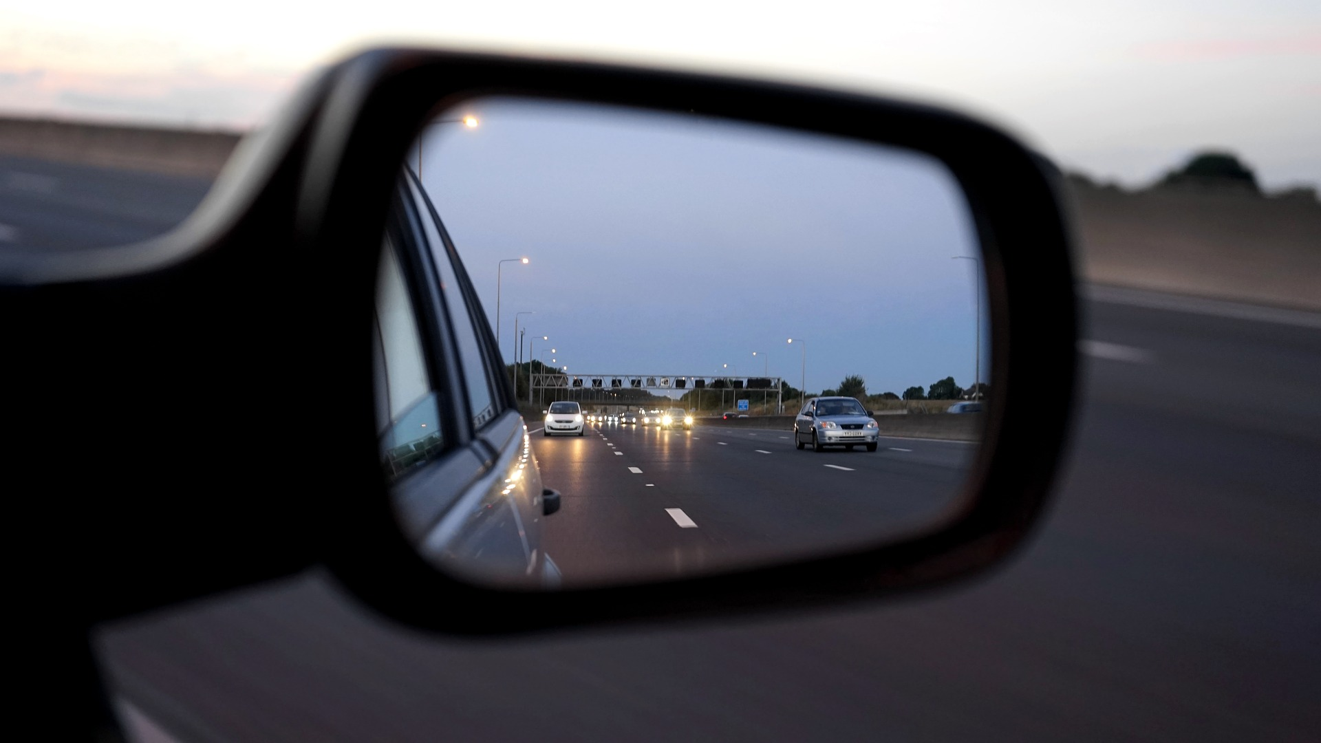 Look in your mirrors while driving, so you will always be aware of the others sharing the road with you.